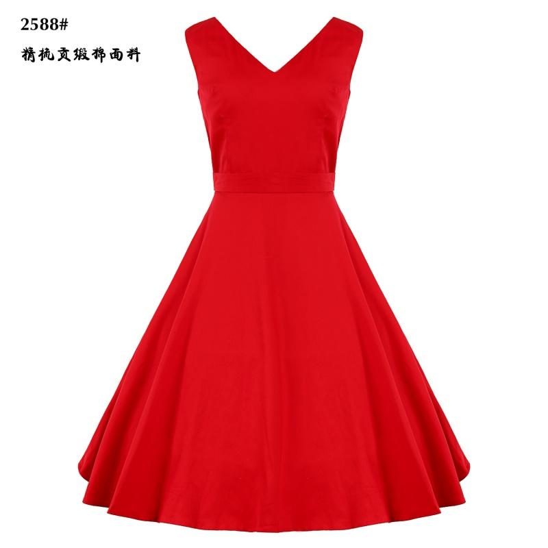 欧美夏季复古无袖V领大码女装小红裙收腰显瘦赫本风小黑裙连衣裙