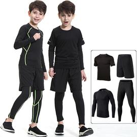 兒童緊身衣訓練服跑步健身套裝男童男孩速干衣籃球足球運動打底衫圖片