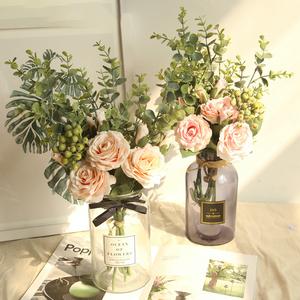 玫瑰浆果家居装饰品客厅仿真花