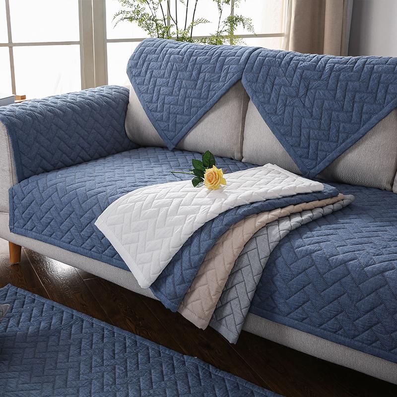 九只猫 纯色北欧沙发坐垫纯棉布防滑现代简约四季全棉沙发垫套巾