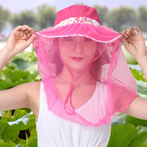 带面纱帽子夏天防护骑车面罩帽遮脸户外钓鱼帽防紫外线防晒大沿帽