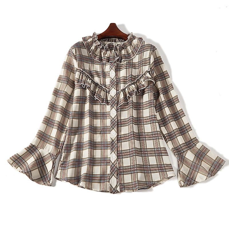 B45新款粗格子襯衫女復古長袖寬鬆學生上衣潮6556