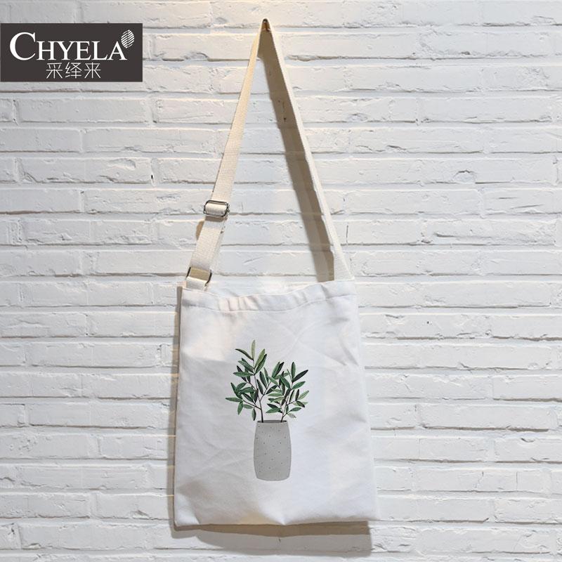 文艺小清新绿色植物简约森系插画单斜挎袋帆布环保包包袋定制AU37