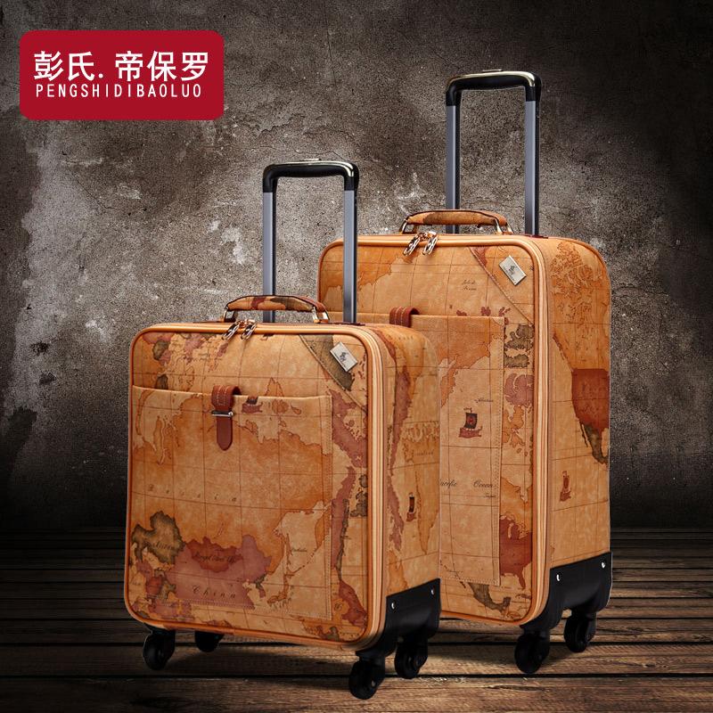 复古地图皮箱拉杆箱女行李箱旅游旅行箱子男万向轮登机箱包密码箱