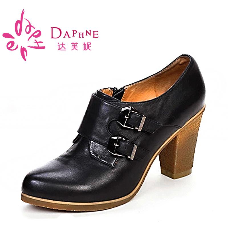 達芙妮專櫃正品  英倫粗跟頭層牛皮女高跟單鞋 1013404043