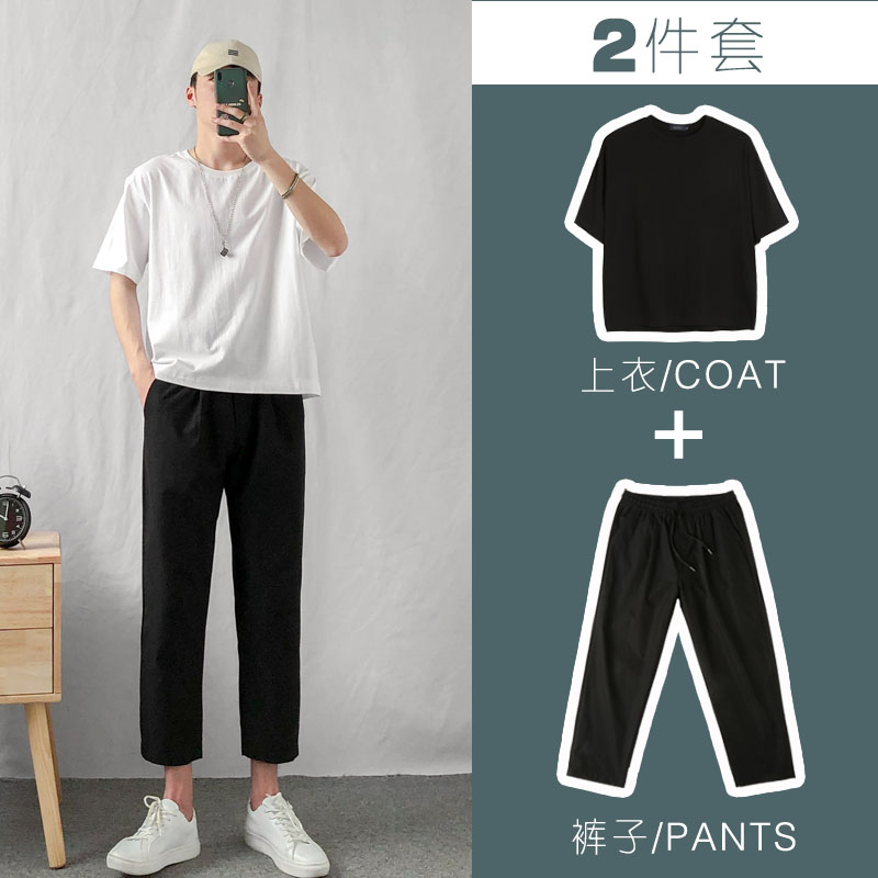 2020 summer new men's short sleeve T-shirt Korean fashion clothes ruffian handsome casual pants with a set