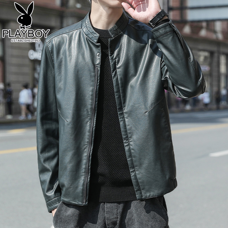 Playboy leather men's self-cultivation Korean style handsome trend stand-up collar spring fashion casual men's leather jacket jacket