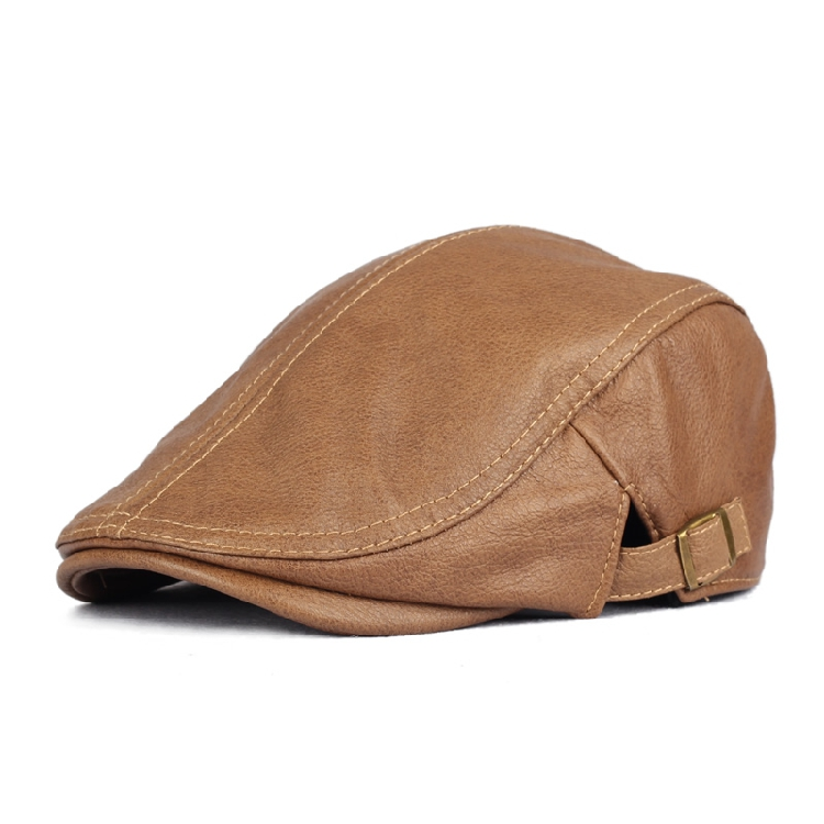 LEATHER BERET thin mens and womens hat cowhide autumn and winter forward hat casual cap popular autumn