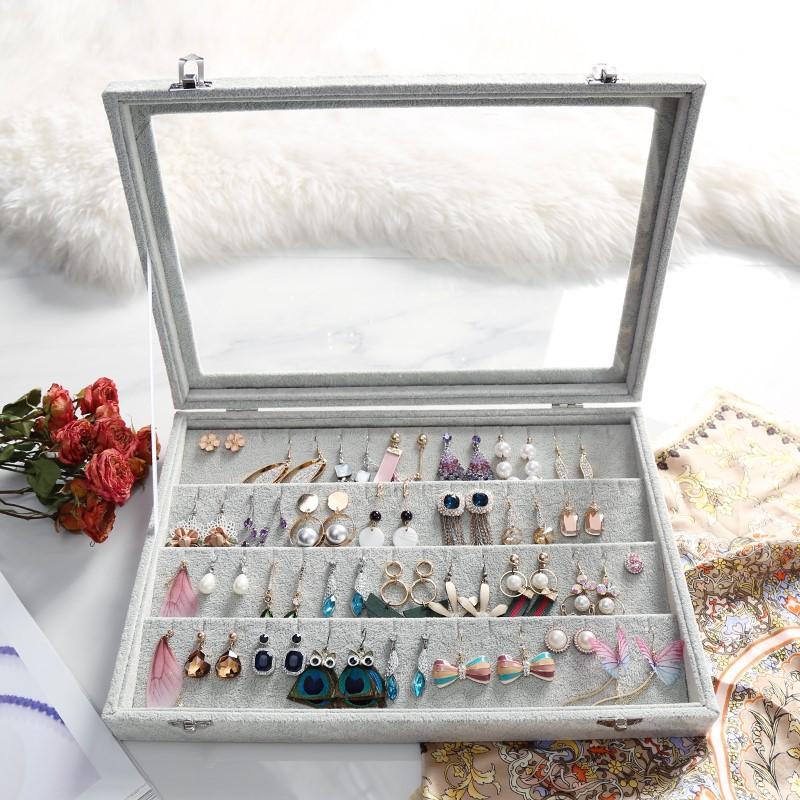 首饰盒 大正方 皮革绒布带锁 饰品收纳盒化妆盒 生日结婚礼物