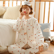 Fu duo spring and autumn air cotton baby clothes pregnant women's pajamas autumn and winter maternity nursing clothes postpartum nursing suit home clothes