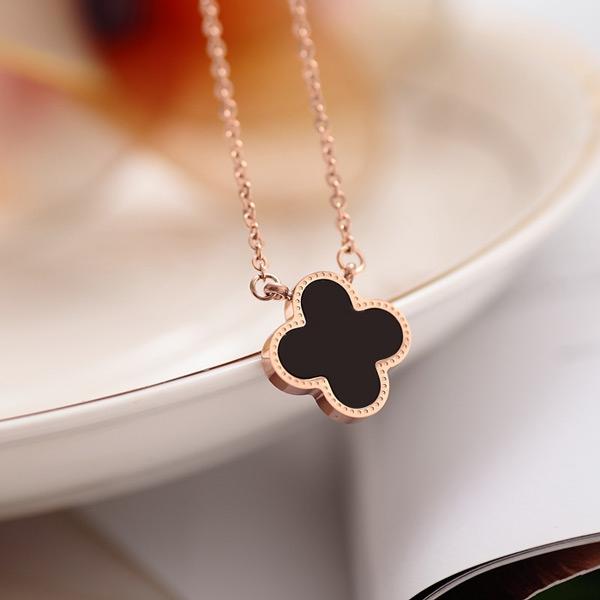 韩国18k玫瑰金彩金黑色女锁骨链(用115.2元券)
