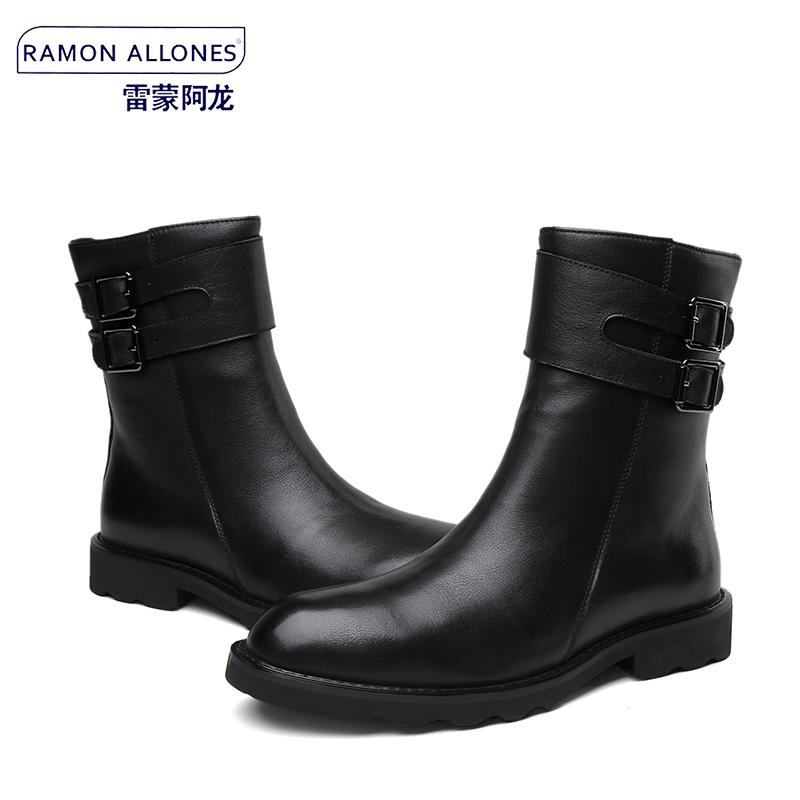 英伦商务正装真皮马丁靴皮靴男 双排扣短靴平跟潮流高帮靴男靴子