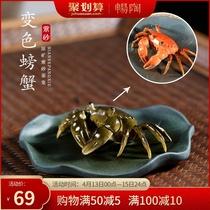 畅陶宜兴紫砂壶纯手工创意茶具茶宠物摆件茶玩可养变色螃蟹