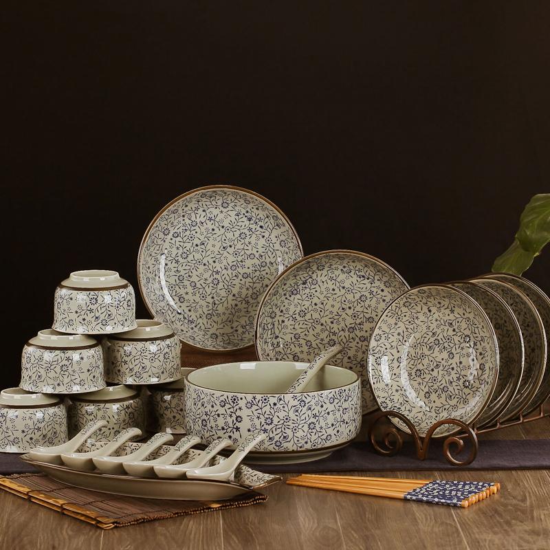 景德鎮陶瓷器盤碗碟餐具套裝盤子日式釉下彩手繪碗套裝結婚送