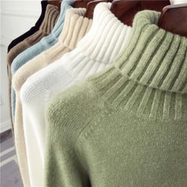 2019秋冬新款宽松高领毛衣女外穿长袖套头保暖加厚打底针织衫线衣