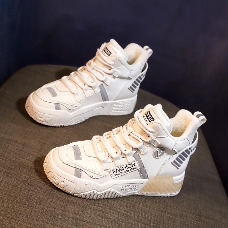 秋冬季加绒厚底内增高小白鞋ins潮2020年新款棉鞋高帮百搭女板鞋