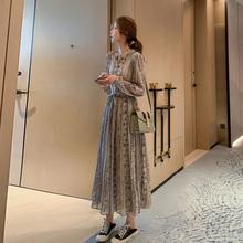 裙女 气质长款 复古连衣裙碎花雪纺长袖 裙子衬衫 2019年新款 秋装 法式