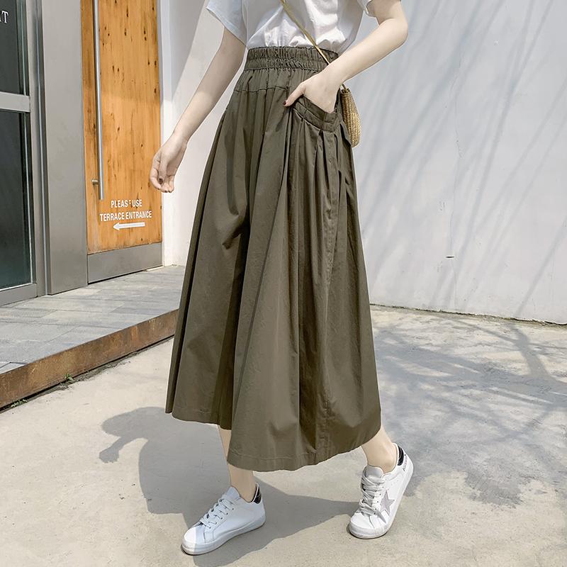 实拍裤裙女春夏2020新款高腰时尚显瘦韩版宽松七分裤黑色休闲裤阔