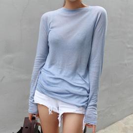 韩国女装2019早秋上衣新款圆领基础打底衫女纯色休闲薄款长袖t恤