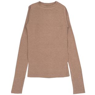韓國春秋薄款微透性感顯胸大彈力打底衫女長袖修身t恤女緊身上衣