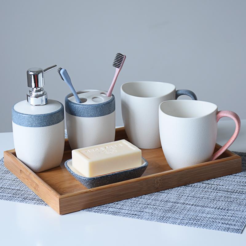 欧式陶瓷浴室洗漱套装卫生间刷牙杯具情侣漱口杯简约卫浴五件套装