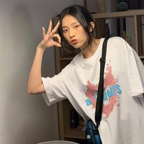 白色短袖t恤女2021夏季新款纯棉宽松韩版原宿风港风半袖上衣ins潮
