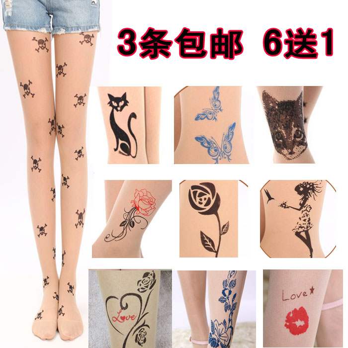 Japanese silk stockings with Fake Tattoo in summer thin Harajuku Print Pantyhose with cute flesh color and cartoon pattern personality