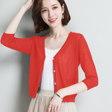 Ice silk sunscreen cardigan woman summer short shawl with skirt small jacket thin jacket with medium sleeve knitted air conditioner shirt