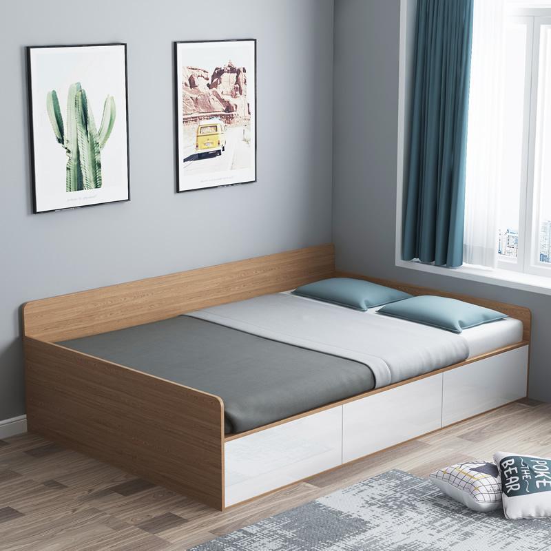 现代简约高箱储物床1.2米小户型榻榻米床收纳一米二床单人床板式