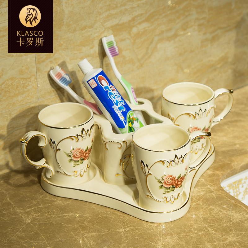 欧式陶瓷卫浴五件套洗漱套装卫生间漱口杯牙刷刷牙杯子创意情侣