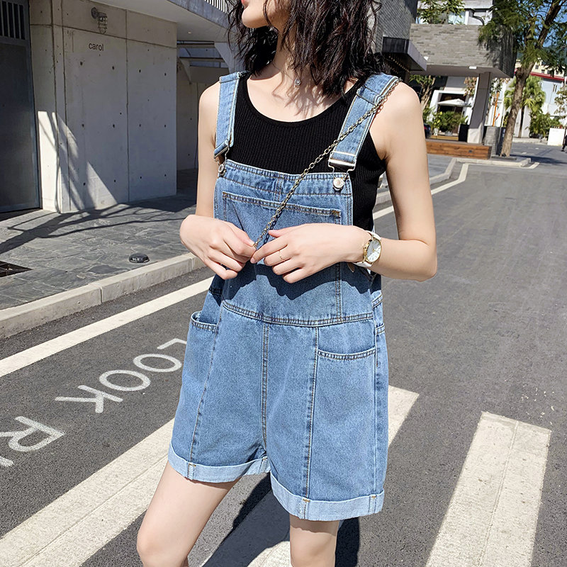 Jeans with back, shorts, womens summer and Korean version, loose and lovely, high waist, thin and aging, wide leg, suspender and Jumpsuit trend