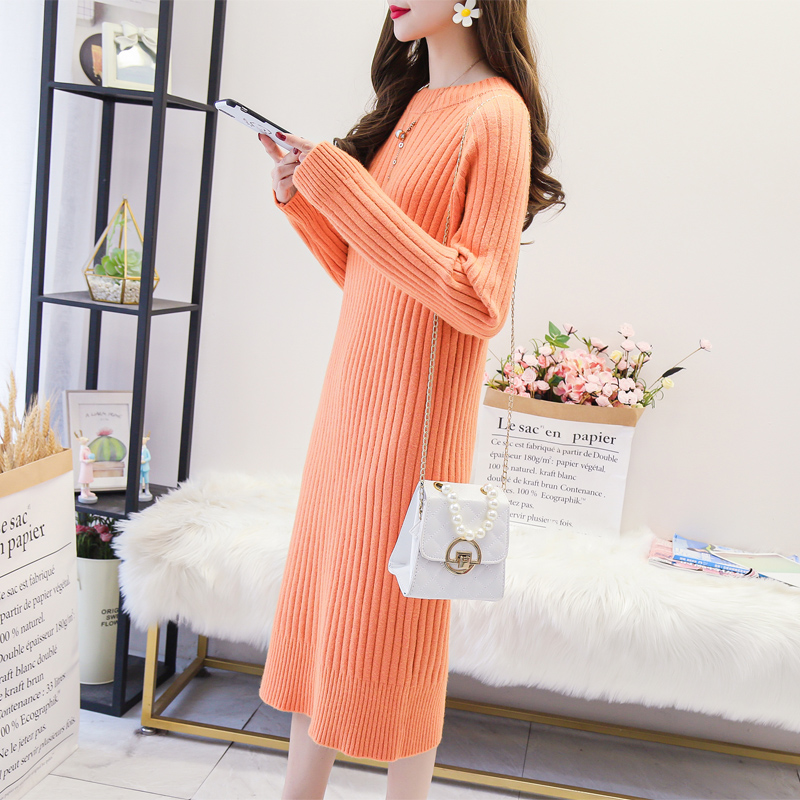 2019 new over the knee wool dress womens Pullover thickened lazy wind net red loose very fairy long bottomed knitted skirt