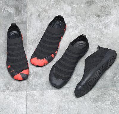 夏季韩版休闲鞋精神小伙鞋布鞋针织鞋一脚蹬快手抖音同款透气男鞋