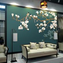 新款素色花鸟墙布壁画客厅电视背景墙壁纸中式卧室墙纸背景墙装饰