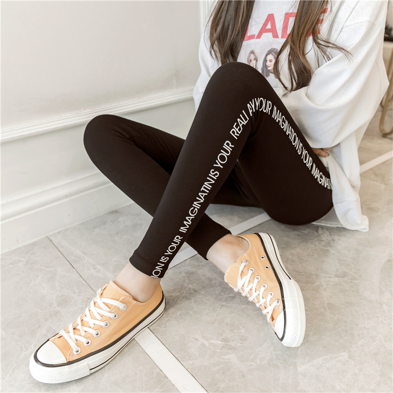 New grey spring and autumn elastic modal printed Leggings for women to wear Plush thickened autumn pants high waist large