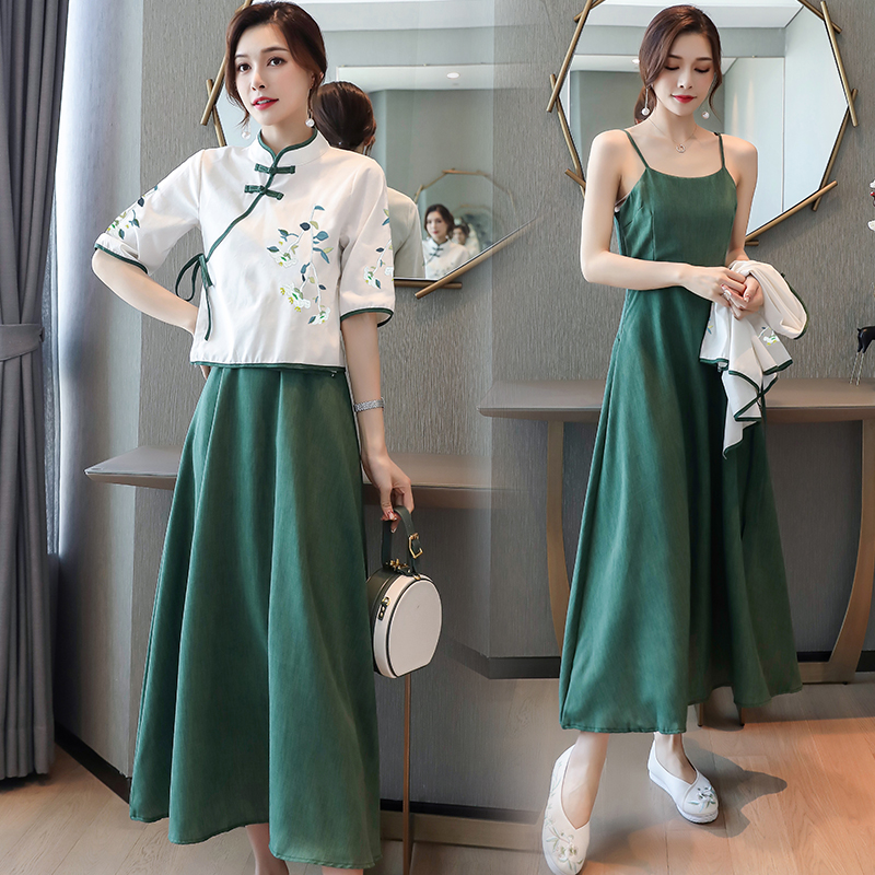 Early spring 2020 two piece suit high grade cheongsam embroidered Hanfu improved ancient style dress children summer