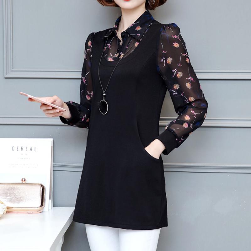 衬衫女长袖2018春装新款韩范女装上衣雪纺衬衫大码宽松中长款衬衣