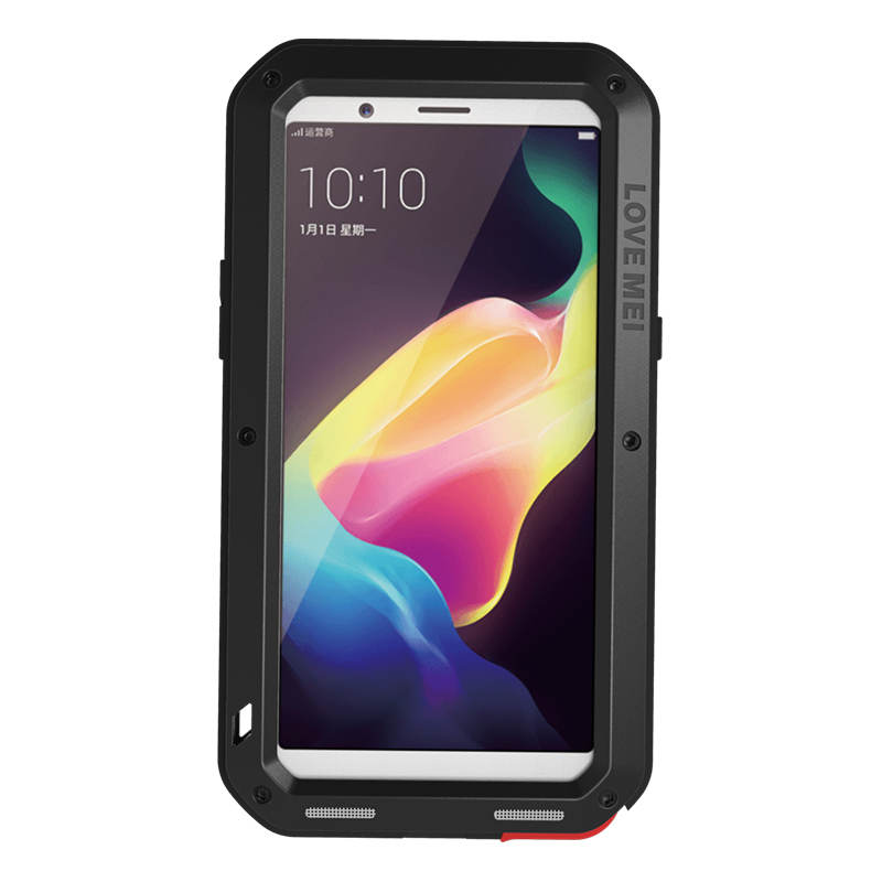 LOVE MEI Powerful Water Resistant Shockproof Dust/Dirt/Snow Proof Aluminum Metal Outdoor Gorilla Glass Heavy Duty Case Cover for OPPO R11s