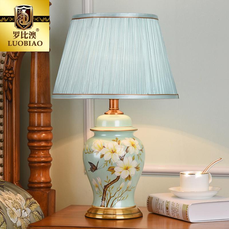 罗比澳欧式台灯卧室床头柜灯创意美式简约温馨浪漫可调暖光陶瓷灯
