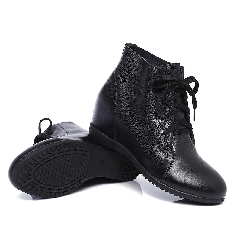 冬季真皮平底女靴系带女靴皮内里内增高短靴保暖软底坡跟女马丁靴
