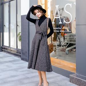 【实拍】秋冬韩版毛呢连衣裙女中长款背心裙子显瘦加厚打底背带裙