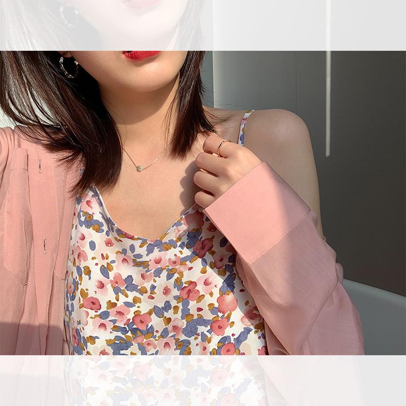 阿一 梦中花园吊带裙女夏季复古印花V领碎花连衣裙韩版内搭鱼尾裙