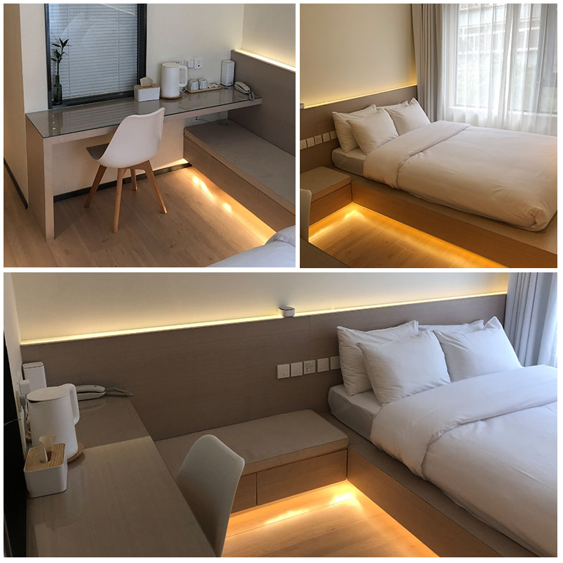 Customized business hotel tatami bed by Hotel B & B guest room single apartment full set of furniture integrated table