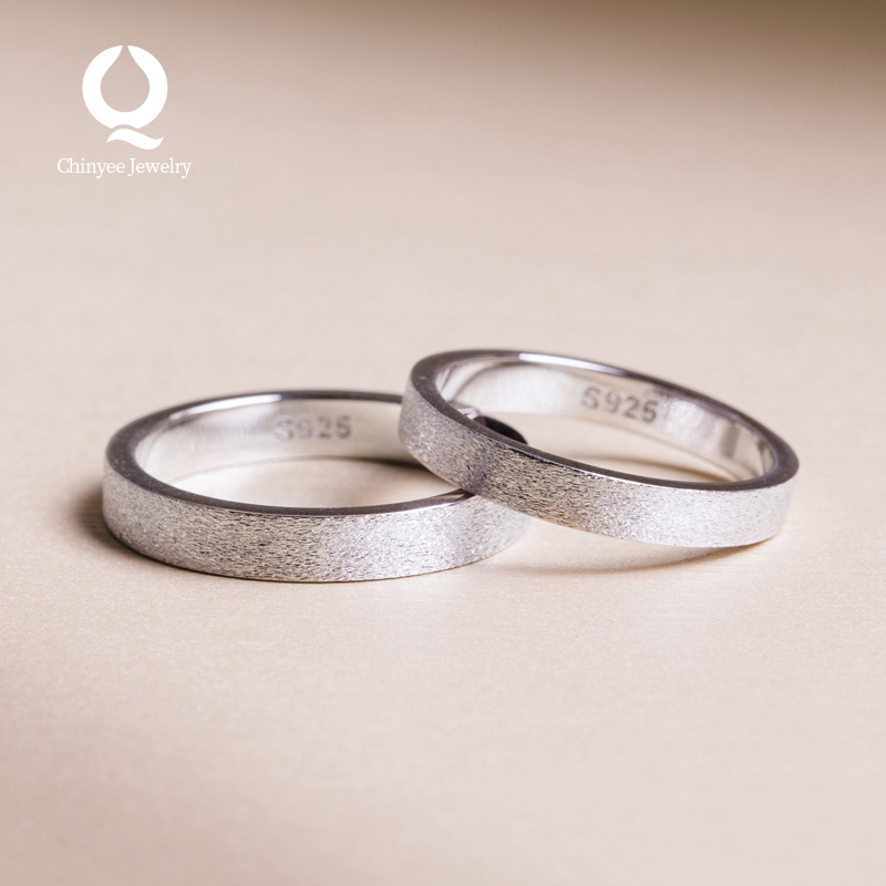 Cool wind ring lovers a pair of pure silver simple literature and art circle pair ring send gift package mail for male and female friends