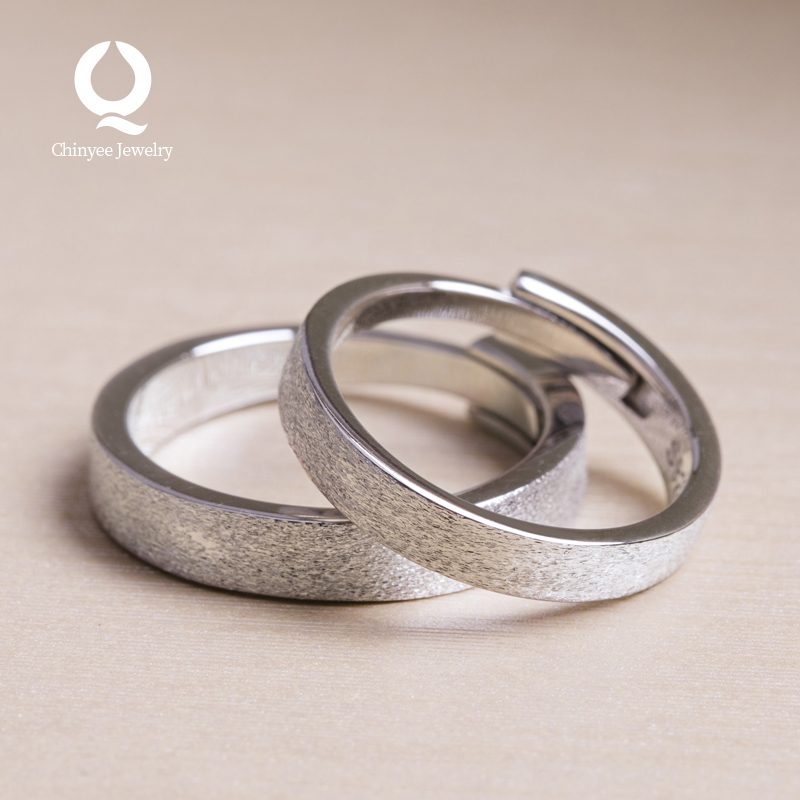 Couple ring opening adjustable pure silver simple temperament cool wind small design gifts for men and women friends