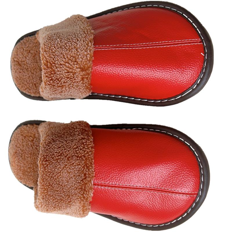 真皮家居棉拖鞋秋冬女士居家室内拖鞋情侣厚底防滑月子牛皮面男式
