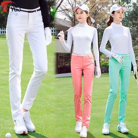 送腰带夏秋高尔夫服饰 女士长裤 轻薄中腰修身运动球服休闲裤子图片