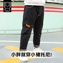 小猪托尼胖男孩秋季新款宽松大码牛仔裤潮裤子胖男童加肥加大童装
