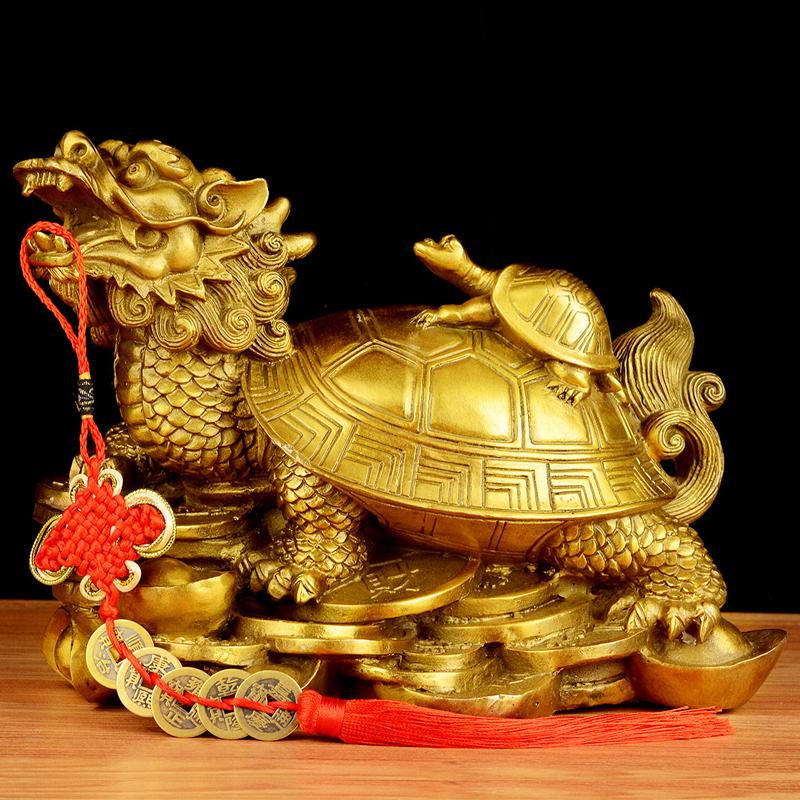 卓弘 风水开光纯铜龙龟摆件八卦龙头龟母子龙龟挂件  家居装饰品