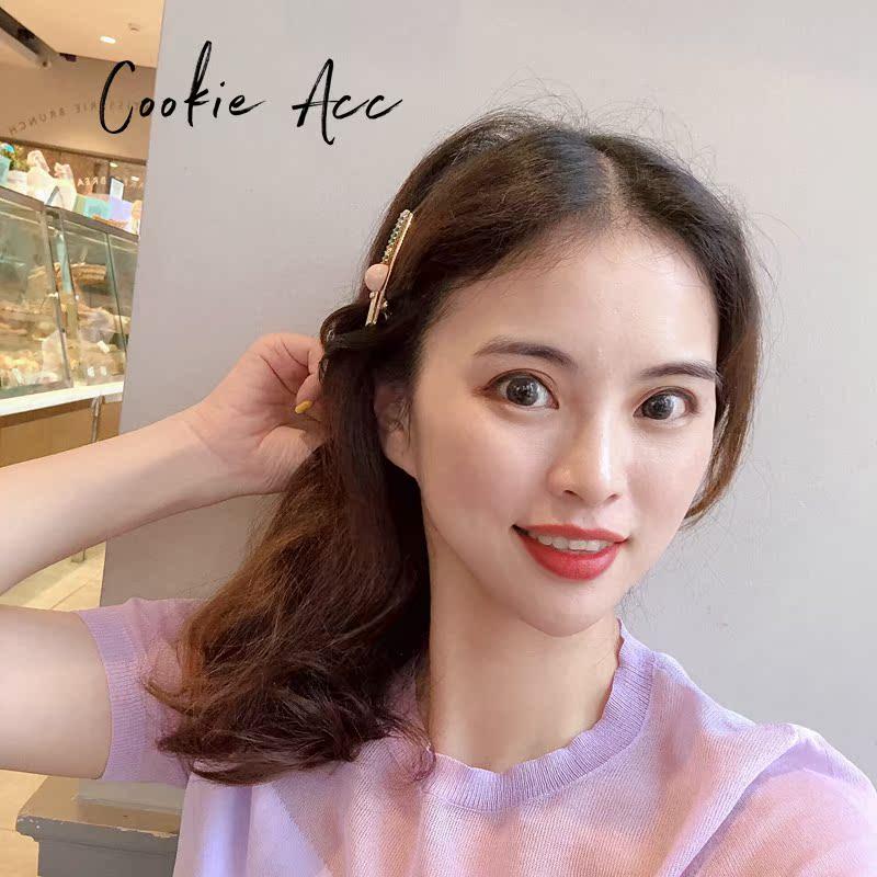 10月10日最新优惠cookie韩国进口网红珍珠夹子少女泫雅风侧边发夹女边夹鸭嘴夹